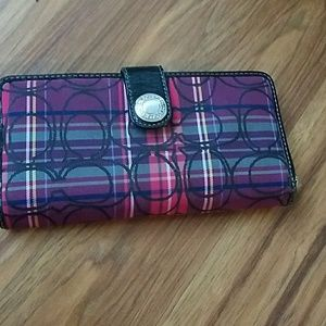 Women's Coach purple plaid wallet